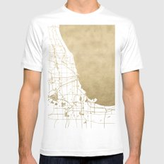 Chicago Gold and White Map MEDIUM White Mens Fitted Tee