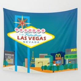 Las Vegas, Nevada - Skyline Illustration by Loose Petals Wall Tapestry