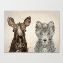 the little wolf and little moose Canvas Print