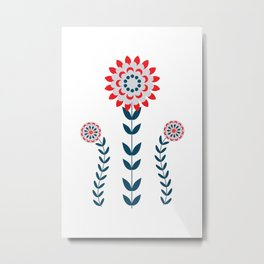 Scandinavian Folk Flowers Pattern Art Metal Print