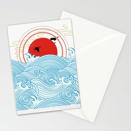 sunset at sea with birds Stationery Cards