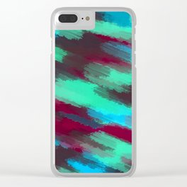 green blue red and brown painting texture abstract background Clear iPhone Case