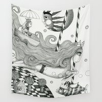jazzberry Wall Tapestries featuring East of Blue Lake by Judith Clay