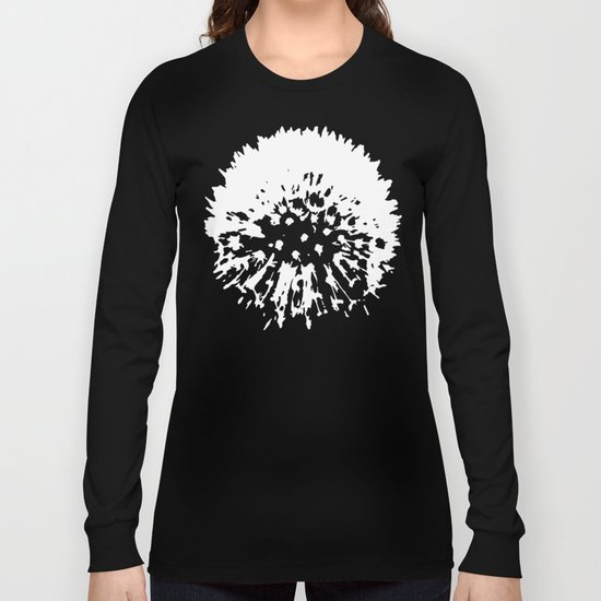 Dandelion [white on black] Long Sleeve T-shirt