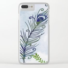 Watercolor Peacock Feather Clear iPhone Case