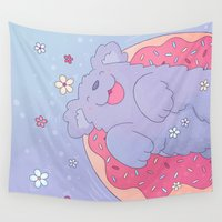 donut Wall Tapestries featuring Donut by Nandi Appleby