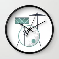 drums Wall Clocks featuring Drums by Beth Laird