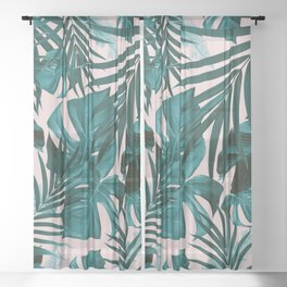 Tropical Jungle Leaves Pattern #3 #tropical #decor #art #society6 Sheer Curtain