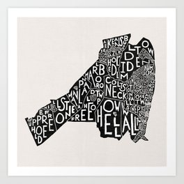 Monmouth County, New Jersey Map Art Print