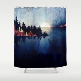 Autumn Moon Reflection Shower Curtain