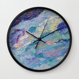 Summer Clouds - impressionism abstract summer nature landscape by Adriana Dziuba Wall Clock