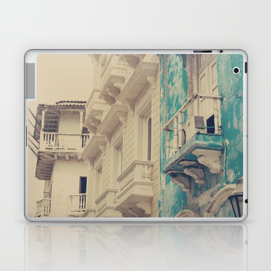 Grunge Summer Town (Retro and Vintage Urban, architecture photography, blue and cream) Laptop & iPad Skin