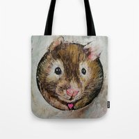 hamster Tote Bags featuring Hamster Love by Michael Creese