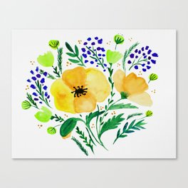 Flower bouquet with poppies - yellow and blue Canvas Print