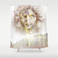 no face Shower Curtains featuring Face by haroulita