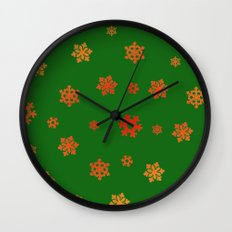 Snowflakes (Red & Gold on Green) Wall Clock