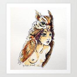 Owl Girl Art Print