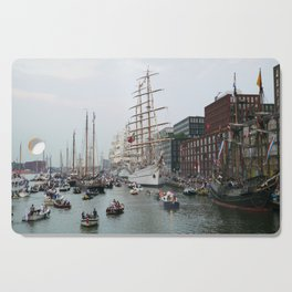 Tall ships in Amsterdam's Harbour Cutting Board