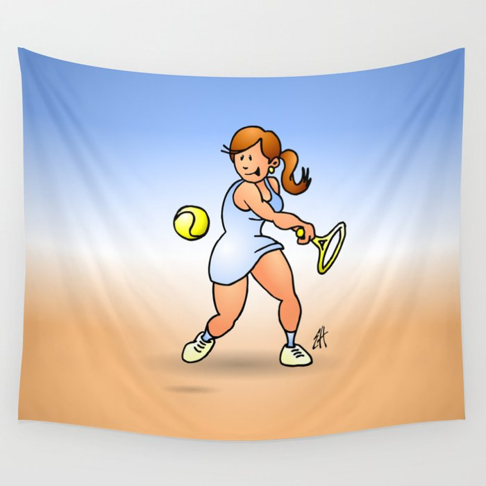 Tennis girl hitting a backhand Wall Tapestry