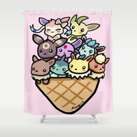 eevee Shower Curtains featuring Eevee Ice Cream by Mayying