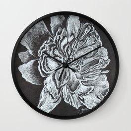 Tennessee Peony black and white Wall Clock