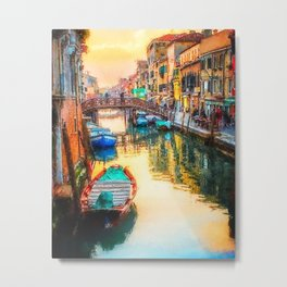 Boats on Venice Canal Oil Painting Metal Print