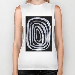 Rings Dark Gothic Black And White Minimalist Ghostly Abstract Art Biker Tank