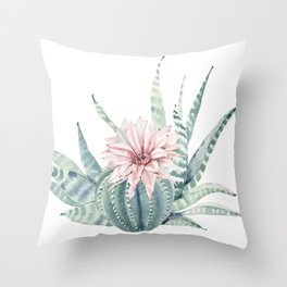 Petite Cactus Echeveria Throw Pillow