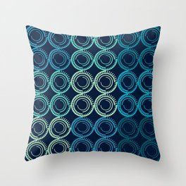 Blue Circles Abstract Pattern Throw Pillow