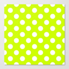 Volt - green - White Polka Dots - Pois Pattern Canvas Print