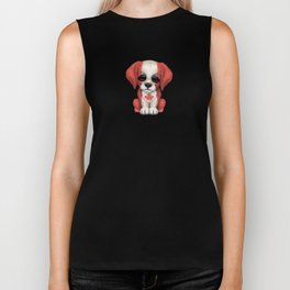 Cute Puppy Dog with flag of Canada Biker Tank