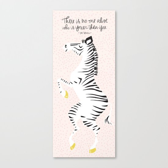 Pink Zebra (Dr. Seuss quote) Right Canvas Print