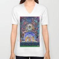 shiva V-neck T-shirts featuring Space Shiva by BradButler