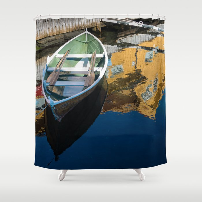 Scandinavian Row Boat Shower Curtain By Dlmjolsness