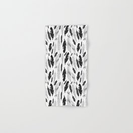 raphic pattern feathers on a white background Hand & Bath Towel