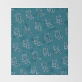 Game Boy Advance Pattern Blue Throw Blanket