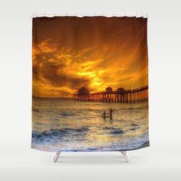 A Winter's Dip * Huntington Beach, California Shower Curtain
