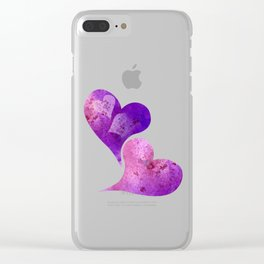 Purple and Pink hearts Clear iPhone Case