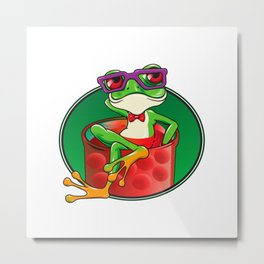 Cartoon Frog in jam Metal Print