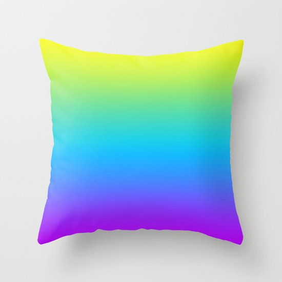 YELLOW/TEAL/PURPLE FADE Throw Pillow