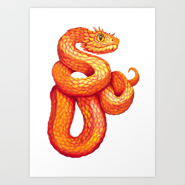 Golden Eyelash Viper Art Print By Sanjanabaijnath Society6