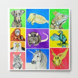 First Set of Ten Colourful Animals Metal Print