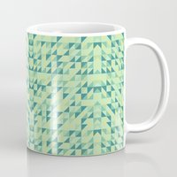 lime green Mugs featuring Lime Green Geometric Grid by Grinned