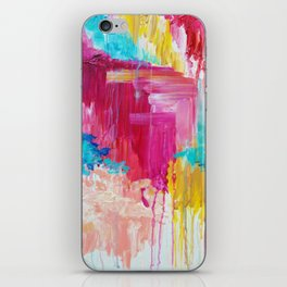 ELATED - Beautiful Bright Colorful Modern Abstract Painting Wild Rainbow Pastel Pink Color iPhone Skin