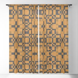 JACK O'LANTERN - abstract orange and black pattern for halloween Sheer Curtain