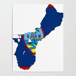 Guam Map with Guamanian Chamorro Flag Poster