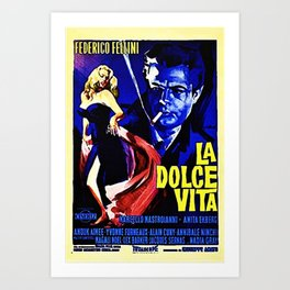 Vintage 1960 Fellini Lithograph Movie Poster Wall Art Art Print