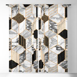 Marble Cubes 2 - Black and White Blackout Curtain