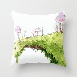 Mushrooms and Moss Throw Pillow