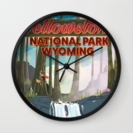 Yellowstone national park travel poster Wall Clock
